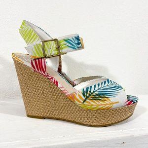 NIB Fergalicious Tropical Wedge Heels Size 9
